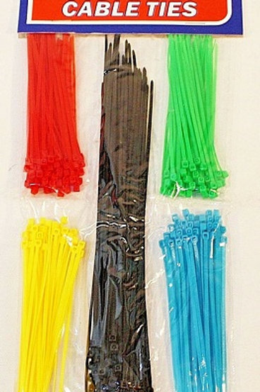 Cable Ties - 250 Pack contains durable plastic ties in an assortment of colours and lengths for a variety of uses