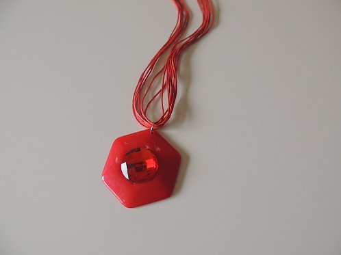 Red Hexagon String Necklace