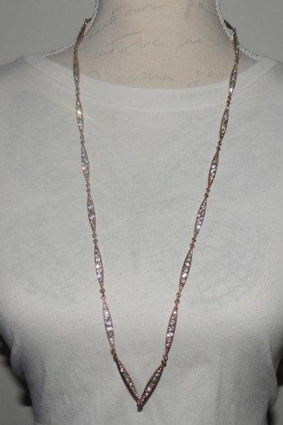 Rose Gold Coloured and Clear Stone Necklace