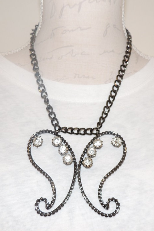Black with clear coloured stones angel wing necklace