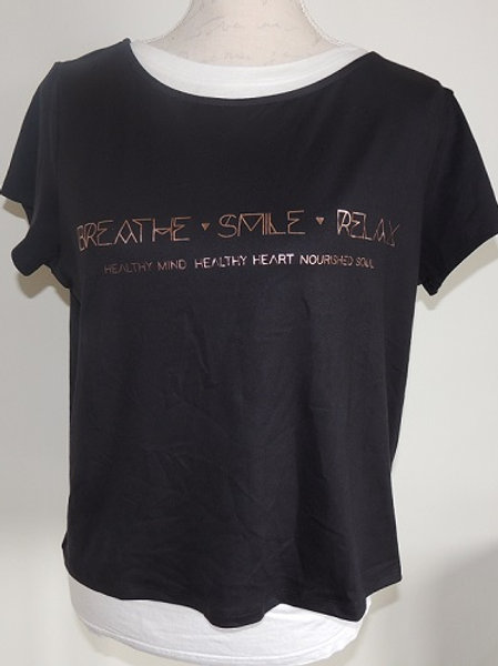 Printed Womens Top - Breathe, Smile, Relax Logo with healthy mind, healthy heart, nourished soul message.