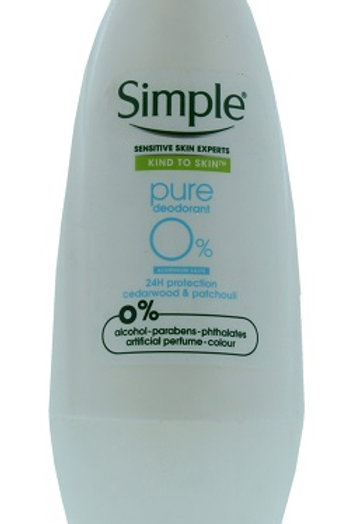 Simple PureRoll-On Deodorant contains 0% alcohol, parabens, artificial perfume, colourand phthalates