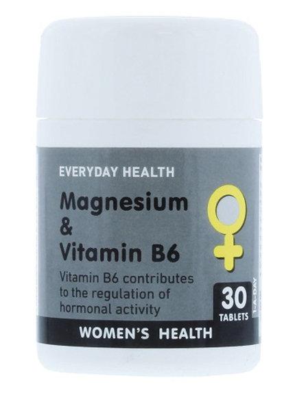 Magnesium contributes to the reduction in tiredness and fatigue, Vitamin B6 contributes to the regulation of hormones