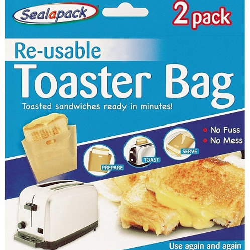 Reusable Toaster Bags for the quick and easy way to make toasted sandwiches and quickly heat up other snacks. No mess or fuss