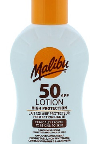 Malibu 50SPF Sun Lotion, Sunscreen, Sun Lotion. High protection UVA and UVB. Manufactured and imported from the UK.