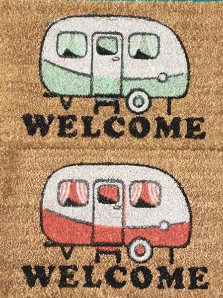 Coir Door Mat 55cm x 33cm.  2 Designs to choose from:  Red Caravan or Blue Caravan