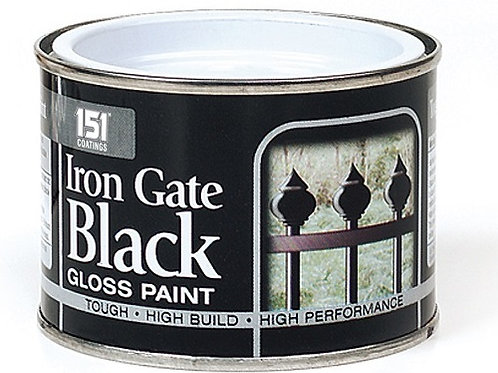 Iron Gate Black Gloss Paint 180ml that is easy to apply and long-lasting, will adhere to interior and exterior surfaces