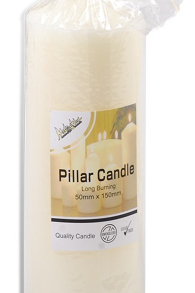 Ivory Coloured Pillar Candle 50mmx 150mm Ideal when creating a beautiful candlelight arrangement for the home