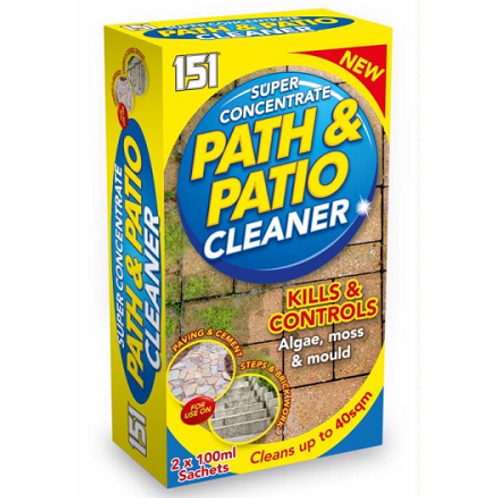 Path and pation cleaner removes algae, mould, mildew, lichen within 2-4 days, continues to clean exposed surfaces for weeks