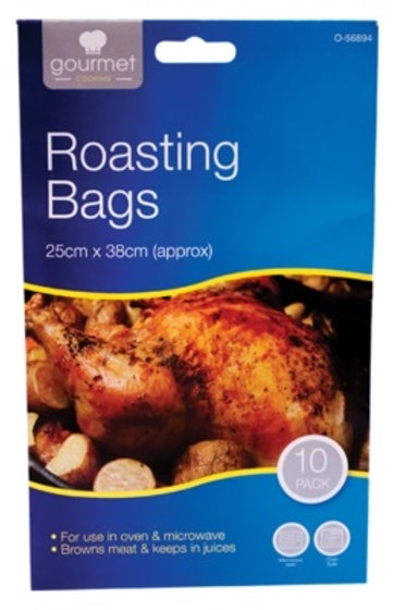 roasting bags are for use in ovens & microwaves when cooking meat keeps in juices while helping to keep ovens clean