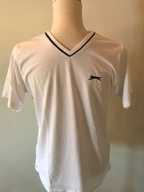 Slazenger V Neck T Shirt  Designed with short sleeves and tonal stitches, this lightweight tee offers a classic sporty feel.