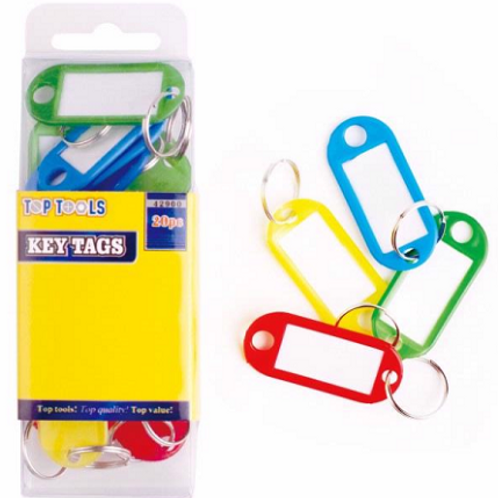 Coloured Key Tags, easily identify your keys by using these 20 coloured key tags