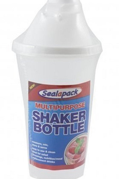 Shaker bottle for mixing, storing and serving liquids, use for drinks, dressings, meal replacement drinks