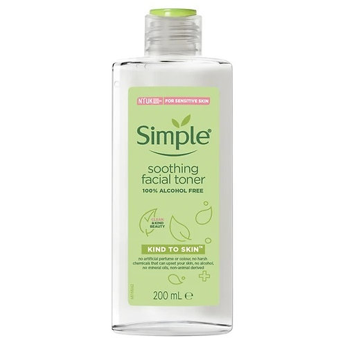 Simple Kind to Skin Soothing Facial Toner that removes any alkaline residue left after cleansing your skin and helps restore
