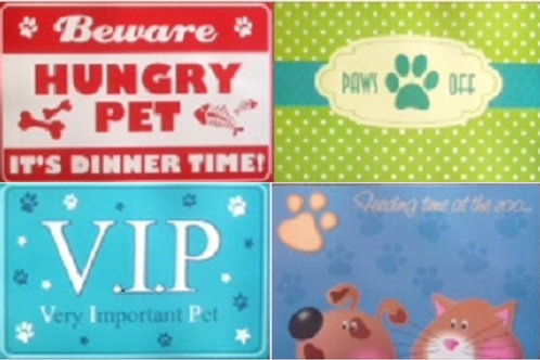 Pet Feeding Mats with 4 designs suitable for both cats and dogs, or your kings and queens, princes and princesses.