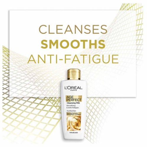 L'Oreal Age Perfect Cleansing Milk is enriched with revitalising magnesium and energising Vitamin C