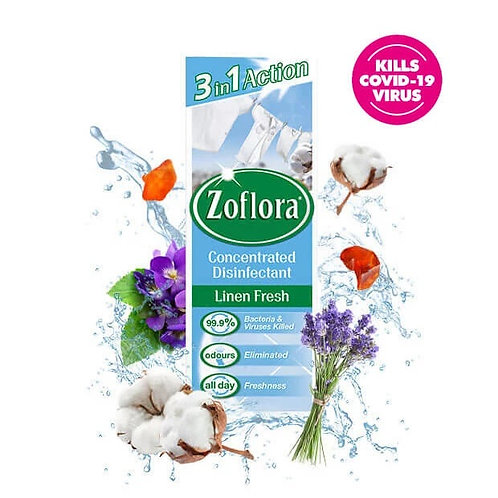 Zoflora Concentrated Disinfectant 500ml Linen Fresh. 99.9% Bacteria and Viruses Killed, Odours Eliminated, All Day Freshness