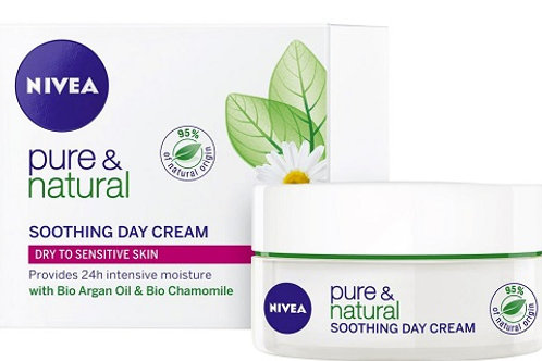 Nivea Pure & Natural Soothing Day Cream for dry & sensitive skin provides intensive soothing moisture