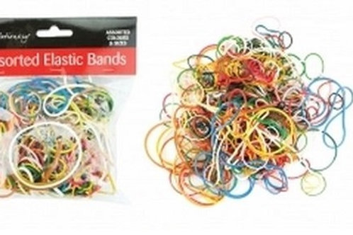 Assorted rubber elastic bands selection of sizes and thickness