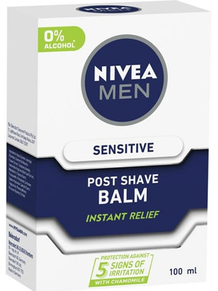 Nivea Post Shave Balm instantly relieves skin from 5 signs of skin irritation: burning, redness, dryness, tightness, itchines