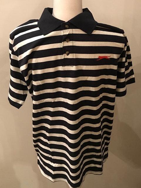 Slazenger Mens P. K Polo Shirt  Blue and White Stripe  100% Cotton.