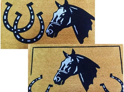 Coir Door Mat 70cm x 40cm with horse and horse shoe design