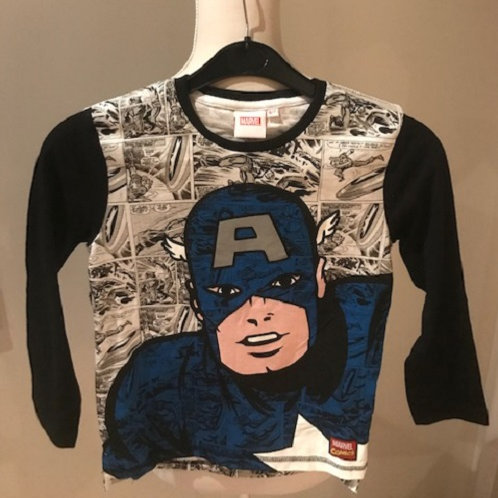 Marvels Captain America Long Sleeve Top in sizes 4-5 Years, 5-6 Years, 6-7 Years
