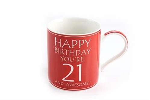 """Awesome You're 21 Boxed Mug. Fun birthday gift, an attractive fine china coffee/tea mug which reads """"HAPPY BIRTHDAY YOU'RE 21"""