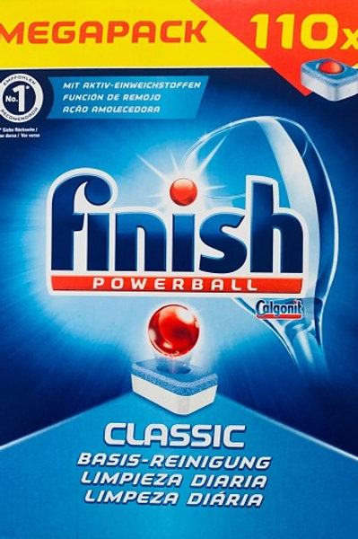110 Finish Powerball Classic Dishwasher Tablets. The powerball soaks and softens tough food stains while the powerful deterge