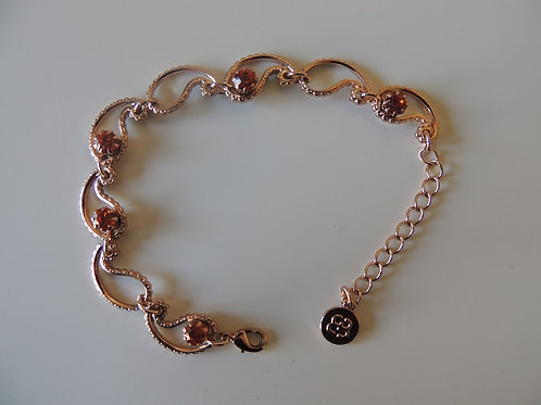 Rose Gold Coloured Bracelet with  Paisley Design and amber coloured stones
