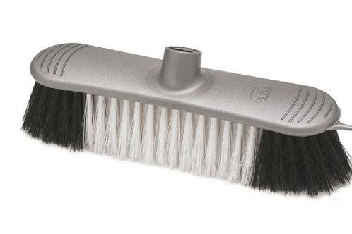 Soft Bristle Broom Head metallic-effect broom head with screw thread handle fixing, ideal for indoor use.