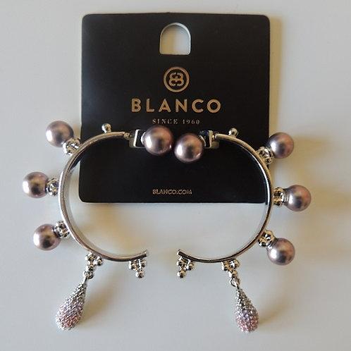 Semi Circle Earrings with Purple Balls