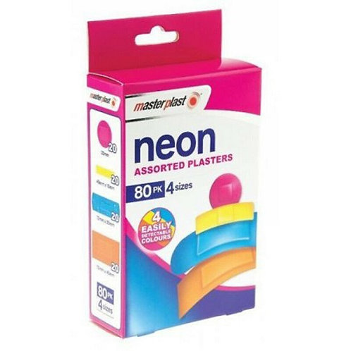 80 Individually Wrapped Neon Plasters mixed sizes for all cuts and grazes