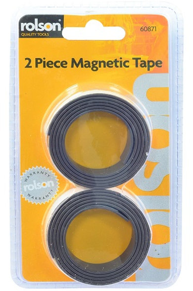 Magnetic Adhesive Tape cuts easily with scissors or knife,  adheres to paper, cardboard or plastic