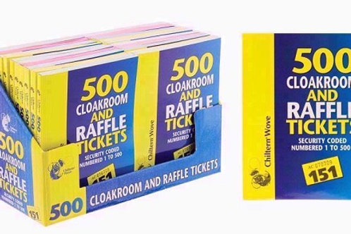500 Raffle and Cloakroom Duplicate Tickets White, Yellow, Blue, Green, Pink coloured paper available, security coded