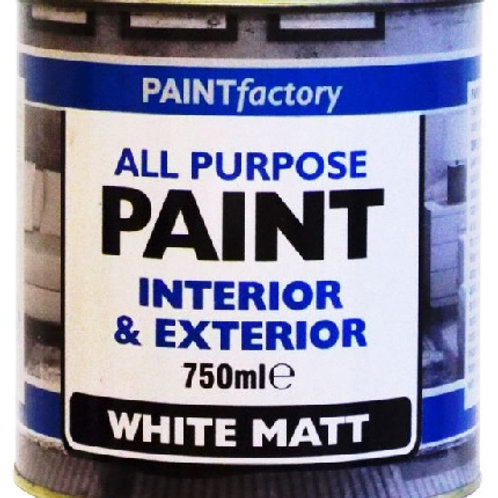 White Matt Paint 750ml oil-based white topcoat paint will adhere to both interior and exterior surfaces