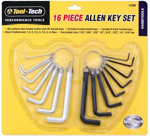 HEX Key Set 16 Piece, AF & Metric Sizes