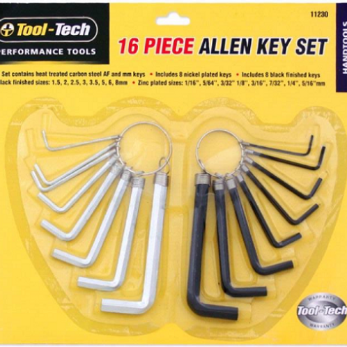 """16 Piece Hexagon Key Set made from heat treated carbon steel 8 x AF Sizes: 1/16"""", 5/64"""", 3/32"""", 1/8"""", 3/16"""" , 7/32"""", 1/4"""", 5"""