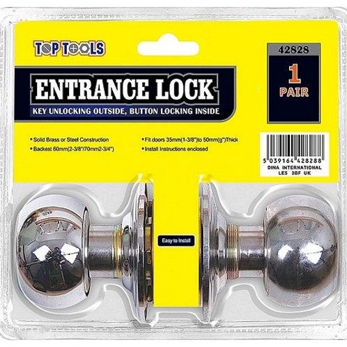 Entrance Door Lock Steel key unlocking outside, button locking inside
