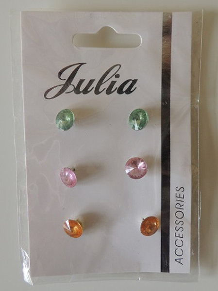 3 Pairs of stud earrings Green, Pink, Orange