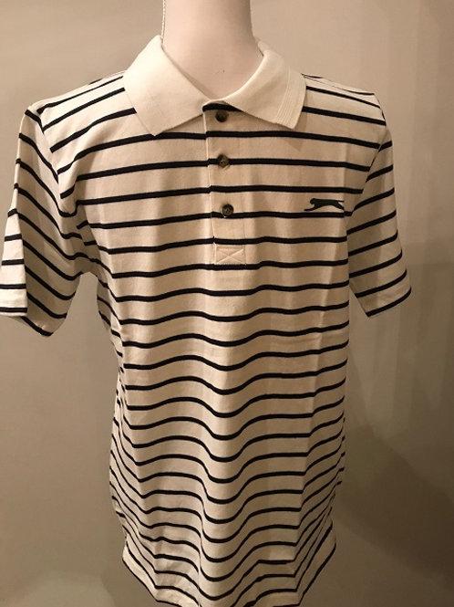 Slazenger Mens P. K Polo Shirt  Cream and Blue Stripe  100% Cotton