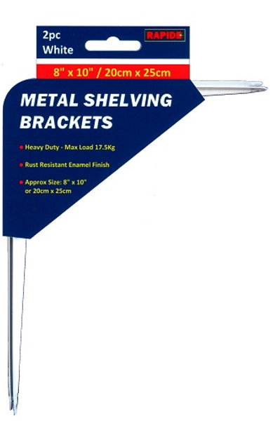 2 White Metal Shelf Brackets 200mm x 250mm for using around the home, office, garage or workshop