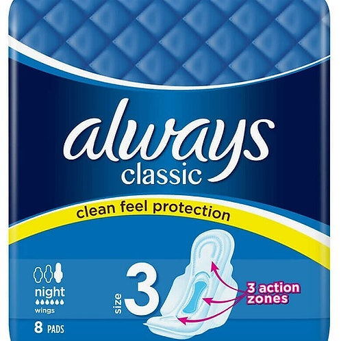 Always Classic Night 8 Sanitary Pads for nighttime period protection.