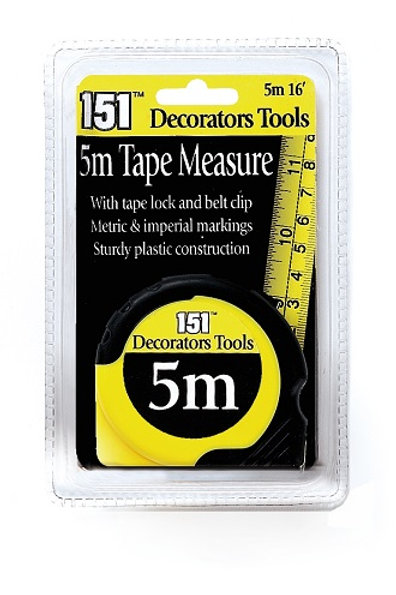5 Metre Tape Measure, complete with tape lock and belt clip. Metric and imperial markings. Sturdy plastic construction.