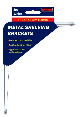 2 White Metal Shelf Brackets 150mm x 200mm