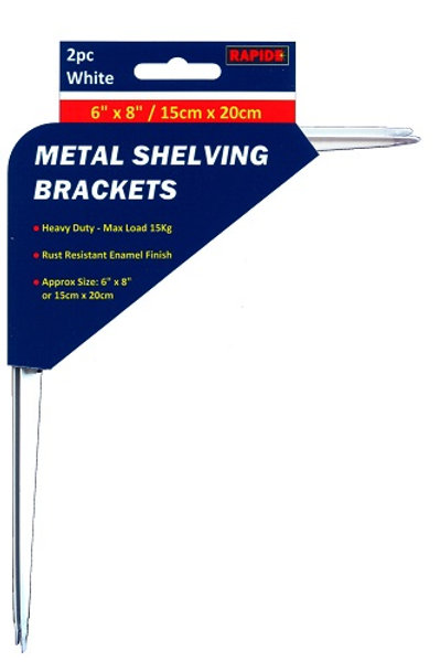 2 White Metal Shelf Brackets 150mm x 200mm for using around the home, office, garage and workshop for all your shelving needs