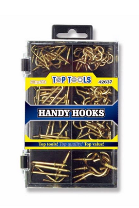 Great Assortment of hooks for everyday use in handy storage box, includes various sizes of cup hooks and square hooks