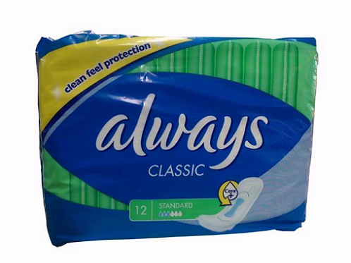 Monthly periods are now covered with Always Classic 12's Standard Clean Feel Protection Sanitary Towel Non-Wing Pads