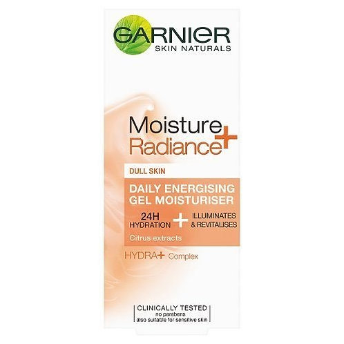 Garnier skin moisture radiance daily energising gel moisturiser is specially formulated to give the skin radiance