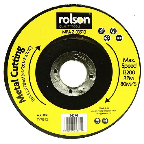 Metal Cutting Disc 115 x 3x 22mm, maximum 13200rpm, for all makes of angle grinder